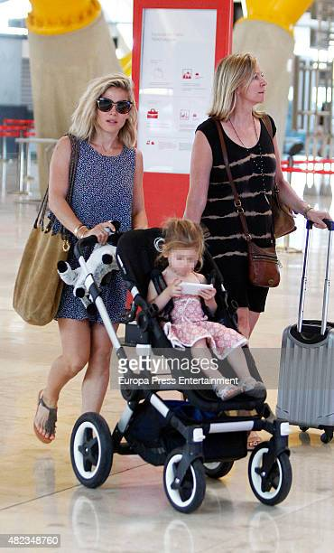 Elsa Pataky, her daughter Indian Rose Hemsworth and her mother-in-law Leonie Hemsworth are seen on July 7, 2015 in Madrid, Spain.