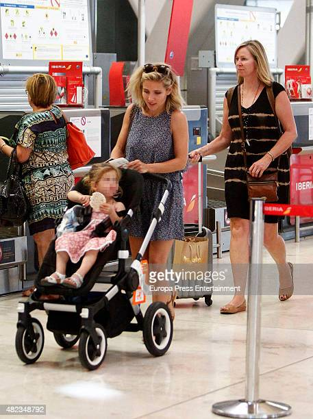 Elsa Pataky her daughter Indian Rose Hemsworth and her motherinlaw Leonie Hemsworth are seen on July 7 2015 in Madrid Spain
