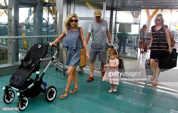 Elsa Pataky her daughter Indian Rose Hemsworth her fatherinlaw Craig Hemsworth and her motherinlaw Leonie Hemsworth are seen on July 7 2015 in Madrid...