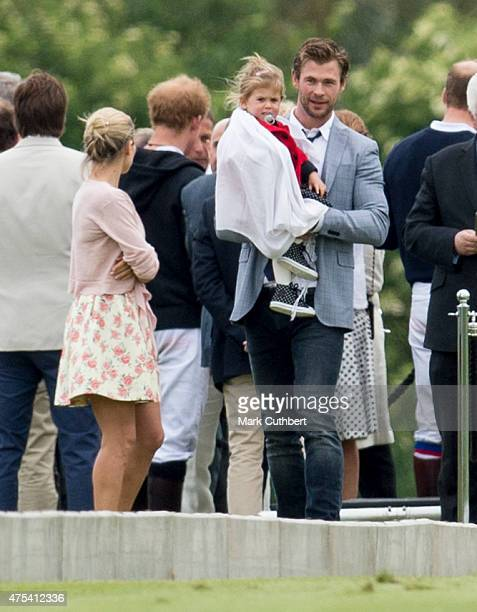 Elsa Pataky, India Rose Hemsworth and Chris Hemsworth attend day two of the Audi Polo Challenge at Coworth Park on May 31, 2015 in London, England.