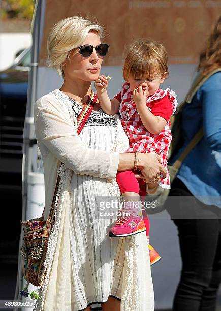 Elsa Pataky is seen at a farmers market with her daughter India Rose Hemsworth on February 16, 2014 in Los Angeles, California.