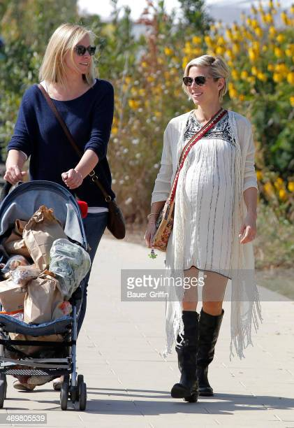 Elsa Pataky is seen at a farmers market with her mother-in-law Leonie Hemsworth on February 16, 2014 in Los Angeles, California.