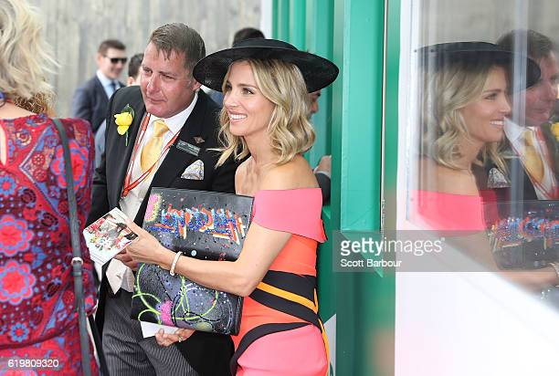 Elsa Pataky places a bet on the Melbourne Cup horse race on Melbourne Cup Day at Flemington Racecourse on November 1 2016 in Melbourne Australia