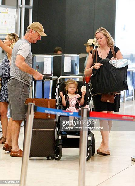 Elsa Pataky's daughter Indian Rose Hemsworth her fatherinlaw Craig Hemsworth and her motherinlaw Leonie Hemsworth are seen on July 7 2015 in Madrid...