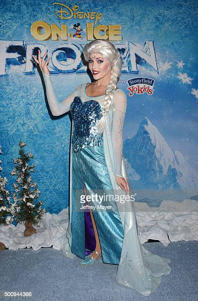 Elsa the Snow Queen arrives at the premiere of Disney On Ice's 'Frozen' at Staples Center on December 10 2015 in Los Angeles California