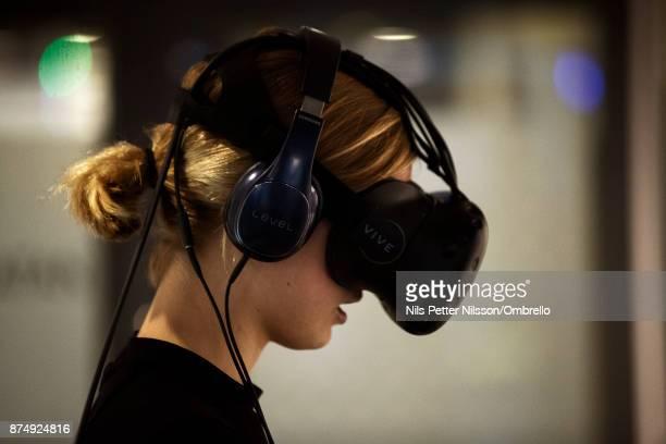 Elsa Wormann trying VR technology during the Sime Awards at Epicenter on November 16 2017 in Stockholm Sweden