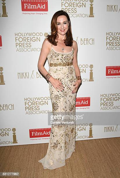 Elsa Zylberstein attends The Hollywood Foreign Press Association Honour Filmaid International during The 69th Annual Cannes Film Festival on May 13...