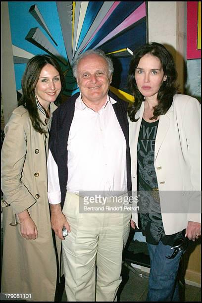 Elsa Zylberstein David Nahmad and Isabelle Adjani at Sebastien Cafiero Exhibition At Galerie Espace