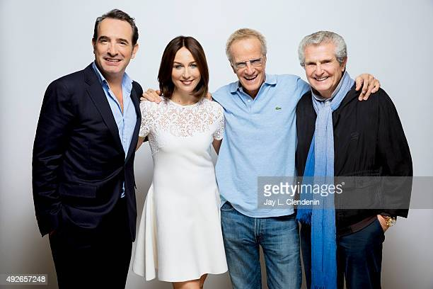 Elsa Zylberstein director Claude Lelouch actors Christopher Lambert and Jean Dujardin from 'Un plus une' are photographed for Los Angeles Times on...