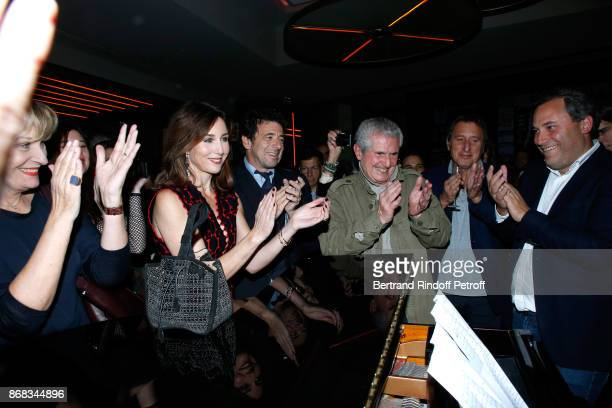Elsa Zylberstein Patrick Bruel Claude Lelouch and CEO of Moma Group Benjamin Patou listen to Didier Barbelivien who wrote a song especially for...