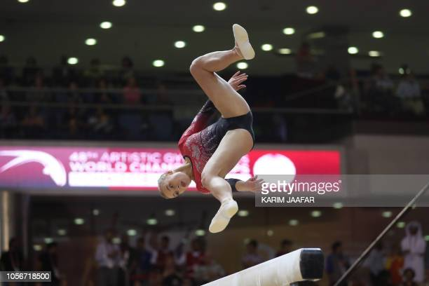 TOPSHOT Elsabeth Black from Canada competes in the Balance Beam during the 2018 FIG Artistic Gymnastics Championships at the Aspire Dome on November...