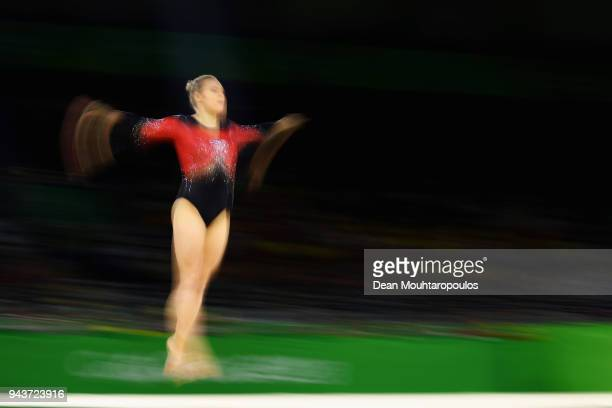 Elsabeth Black of Canada competes in the Women's Floor Exercise Final during Gymnastics on day five of the Gold Coast 2018 Commonwealth Games at...