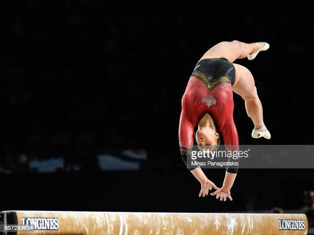 Elsabeth Black of Canada competes on the balance beam during the qualification round of the Artistic Gymnastics World Championships on October 3 2017...