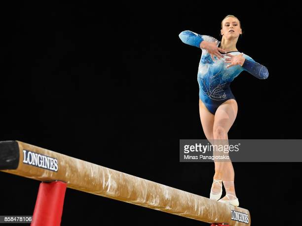 Elsabeth Black of Canada competes on the balance beam during the women's individual all-around final of the Artistic Gymnastics World Championships...