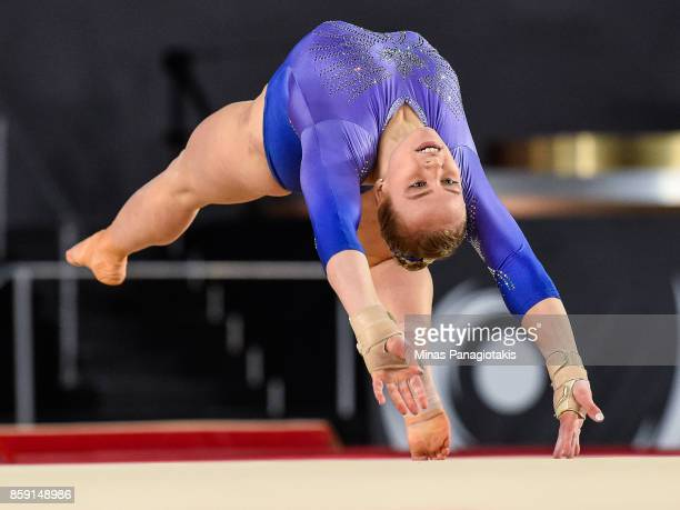 Elsabeth Black of Canada competes on the floor exercise during the individual apparatus finals of the Artistic Gymnastics World Championships on...