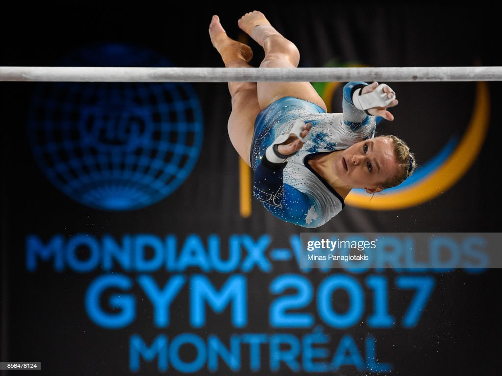 Elsabeth Black of Canada competes on the uneven bars during the women's individual all-around final of the Artistic Gymnastics World Championships on October 6, 2017 at Olympic Stadium in Montreal, Canada.