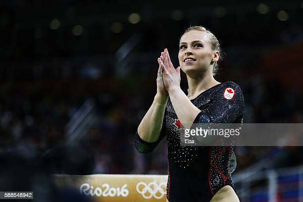 Elsabeth Black of Canada reacts after competing on the balance beam during the Women's Individual All Around Final on Day 6 of the 2016 Rio Olympics...