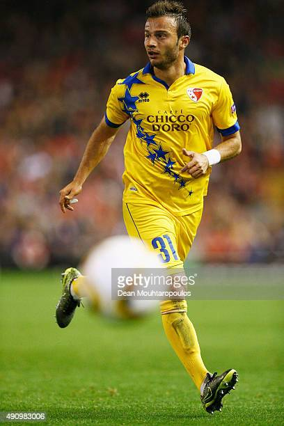 Elsad Zverotic of Sion in action during the UEFA Europa League group B match between Liverpool FC and FC Sion at Anfield on October 1, 2015 in...