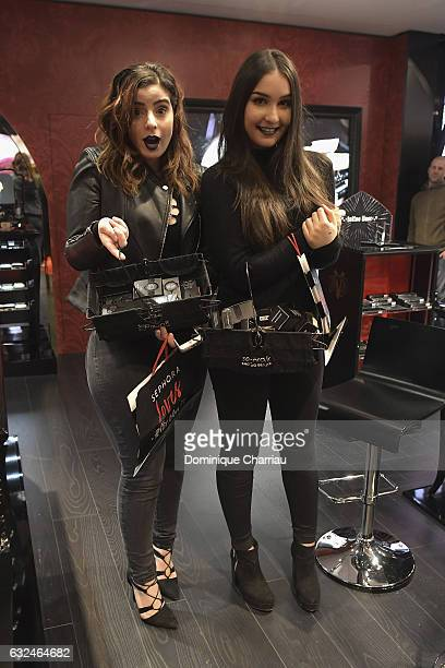 Elsamakeup and thedollbeauty attend the Kat Von D Beauty opening weekend with influencers at Sephora ChampsElysees on January 23 2017 in Paris France