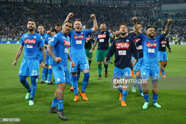 Elsed Hysaj Allan Loudeiro Piotr Zielinski Dries Mertens and Lorenzo Insigne of Napoli during the serie A match between Juventus and SSC Napoli on...