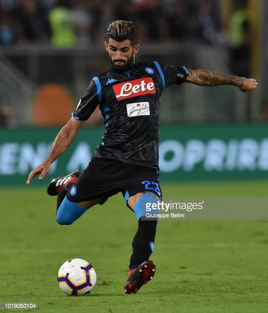 Elseid Gezim Hysaj of SSC Napoli in action during the serie A match between SS Lazio and SSC Napoli at Stadio Olimpico on August 18 2018 in Rome Italy