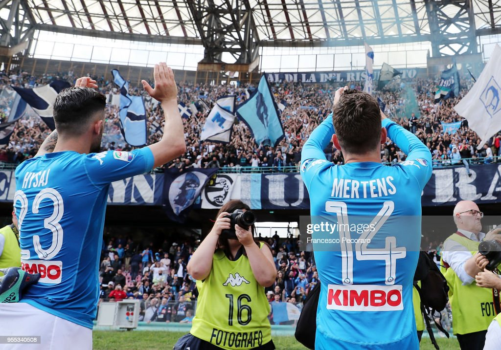 Elseid Hysaj and Dries Mertens of SSC Napoli greet their supporters after the serie A match between SSC Napoli and Torino FC at Stadio San Paolo on May 6, 2018 in Naples, Italy.