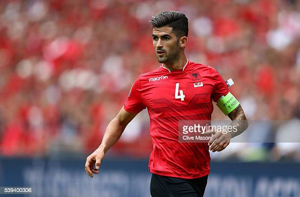 Elseid Hysaj of Albania in action during the UEFA EURO 2016 Group A match between Albania and Switzerland at Stade BollaertDelelis on June 11 2016 in...