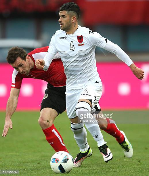 Elseid Hysaj of Albania moves away from Christian Fuchs during the international friendly match between Austria and Albania at the Ernst Happel...