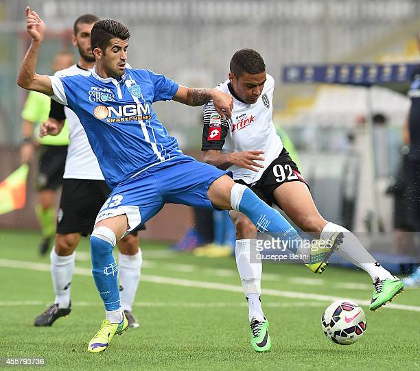 Elseid Hysaj of Empoli and Gregoire Defrel of Cesena in action during the Serie A match between AC Cesena and Empoli FC at Dino Manuzzi Stadium on...