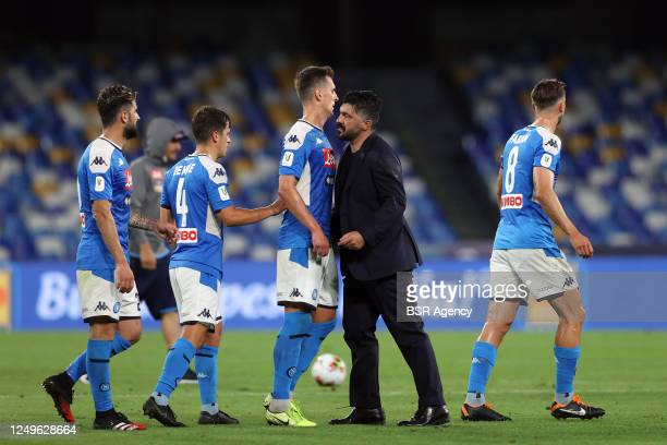 Elseid Hysaj of Napoli, Diego Demme of Napoli, Arkadiusz Milik of Napoli, trainer Ivan Gennaro Gattuso of Napoli, Fabian of Napoli after the semi...