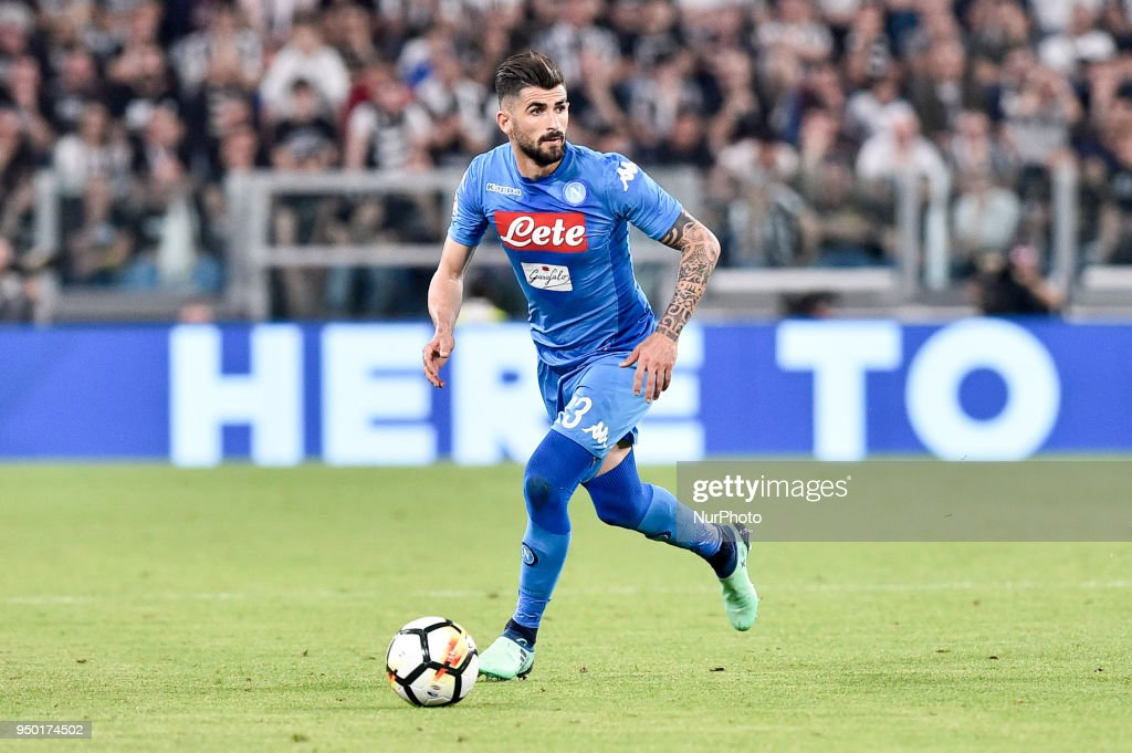 Elseid Hysaj of Napoli during the Serie A match between Juventus and Napoli at Allianz Stadium, Turin, Italy on 22 April 2018.