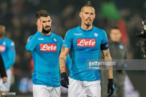 Elseid Hysaj of SSC Napoli Marek Hamsik of SSC Napoli during the UEFA Champions League group F match between Feyenoord Rotterdam and SSC Napoli at...