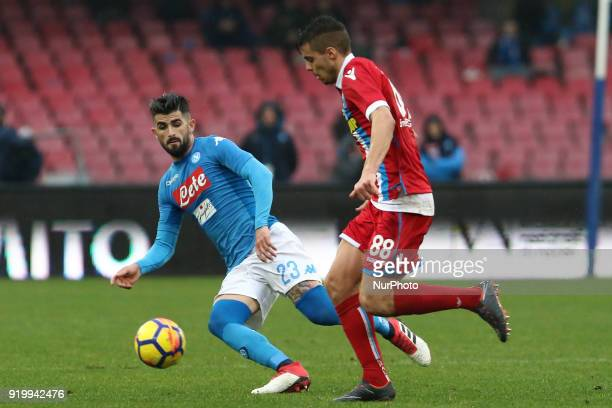 Elseid Hysaj vies Alberto Grassi during the Italian Serie A football SSC Napoli v Spal at S Paolo Stadium in Naples on February 18 2018