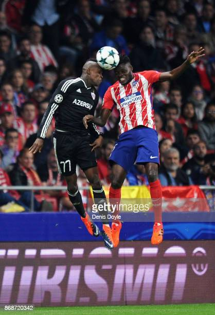 Elshan Abdullayev of Qarabag FK and Thomas Partey of Atletico Madrid during the UEFA Champions League group C match between Atletico Madrid and...