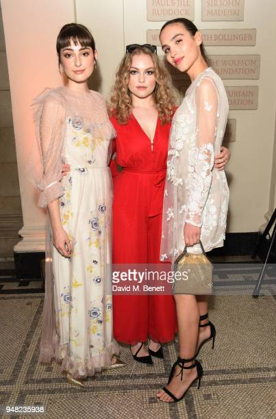Elsie Campbell Ciara Charteris and Maxim Magnus attend Fashioned From Nature VIP preview at The VA on April 18 2018 in London England