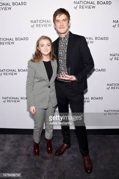 Elsie Fisher and Bo Burnham pose with the Best Directorial Debut award for Eighth Grade during The National Board of Review Annual Awards Gala at...