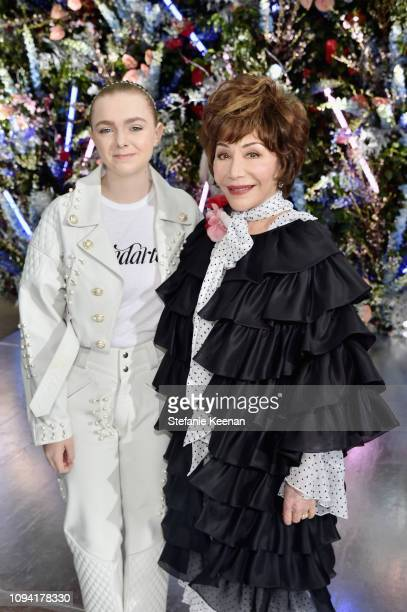 Elsie Fisher and Lynda Resnick attend JNSQ Rose Cru debuts alongside Rodarte FW/19 Runway Show at Huntington Library on February 5 2019 in Pasadena...