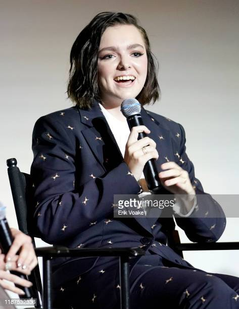 Elsie Fisher speaks onstage at the 2019 Hulu Scene and Heard SAG Event at Pacific Design Center on November 13 2019 in West Hollywood California