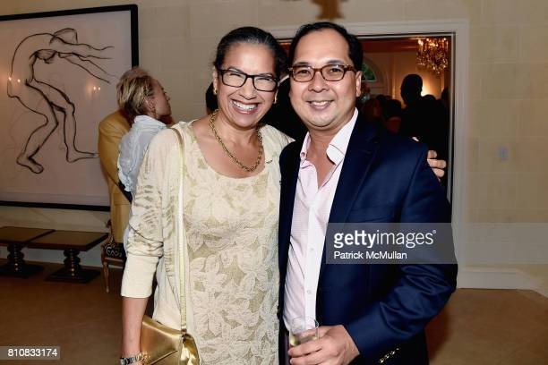 Elsie McCabe Thompson and Loy Carlos attend Katrina and Don Peebles Host NY Mission Society Summer Cocktails at Private Residence on July 7 2017 in...