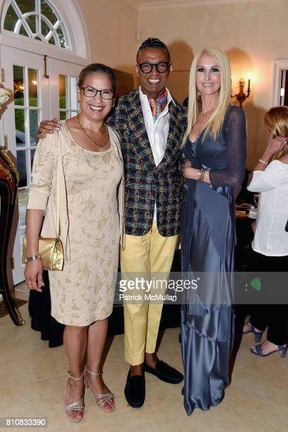 Elsie McCabe Thompson B Michael and Katrina Peebles attend Katrina and Don Peebles Host NY Mission Society Summer Cocktails at Private Residence on...