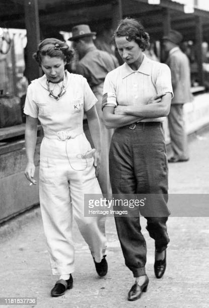 Elsie Wisdom with Kaye Petre in pits at Brooklands Creator Unknown