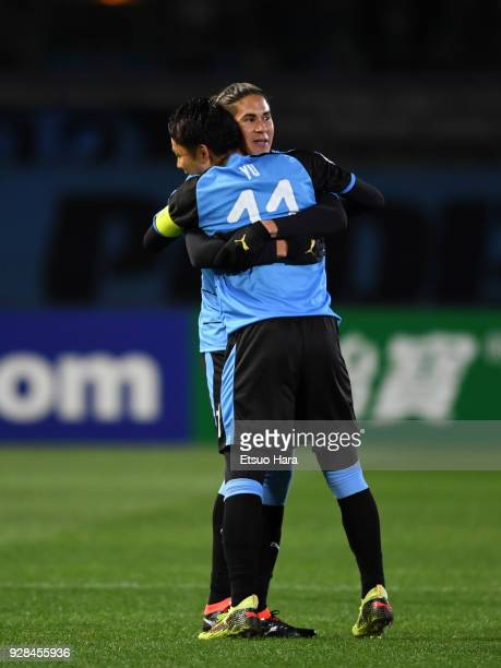 Elsinho of Kawasaki Frontale celebrates scoring his side's first goal during the AFC Champions League Group F match between Kawasaki Frontale and...