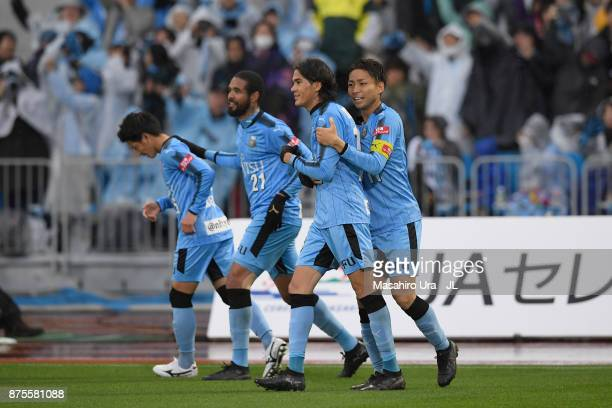 Elsinho of Kawasaki Frontale celebrates scoring the opening goal with his teammates during the JLeague J1 match between Kawasaki Frontale and Gamba...