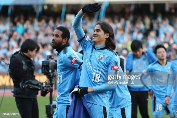 Elsinho of Kawasaki Frontale celebrates the JLeague Champions after the JLeague J1 match between Kawasaki Frontale and Omiya Ardija at Todoroki...
