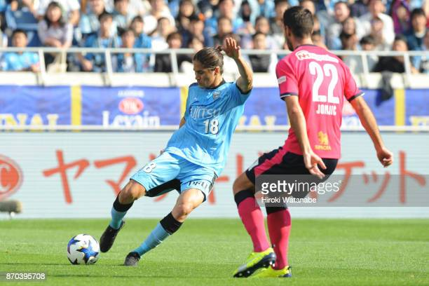 Elsinho of Kawasaki Frontale in action during the JLeague Levain Cup final match between Cerezo Osaka and Kawasaki Frontale at Saitama Stadium on...