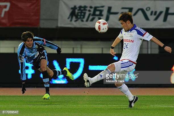 Elsinho of Kawasaki Frontale in action during the J.League Yamazaki Nabisco Cup match between Kawasaki Frontale and Yokohama F.Marinos at Todoroki...