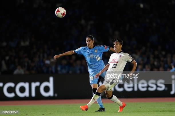 Elsinho of Kawasaki Frontale scores his side's fifth goal during the JLeague J1 match between Kawasaki Frontale and Cerezo Osaka at Todoroki Stadium...
