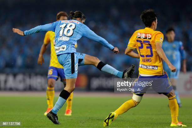 Elsinho of Kawasaki Frontale scores his side's first goal during during the JLeague J1 match between Kawasaki Frontale and Vegalta Sendai at Todoroki...