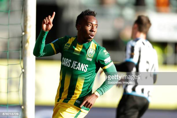 Elson Hooi of ADO Den Haag celebrates 4-1 during the Dutch Eredivisie match between ADO Den Haag v Heracles Almelo at the Cars Jeans Stadium on...