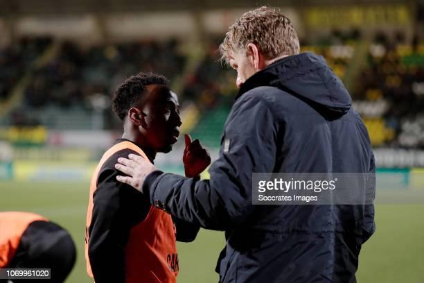 Elson Hooi of ADO Den Haag coach Alfons Groenendijk of ADO Den Haag during the Dutch Eredivisie match between ADO Den Haag v De Graafschap at the...